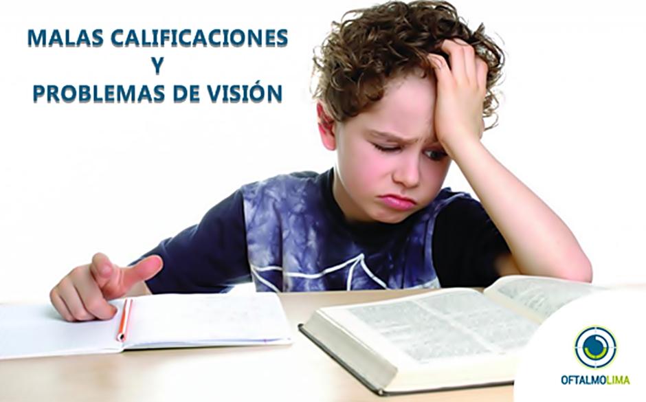 Malas calificaciones y problemas de visión