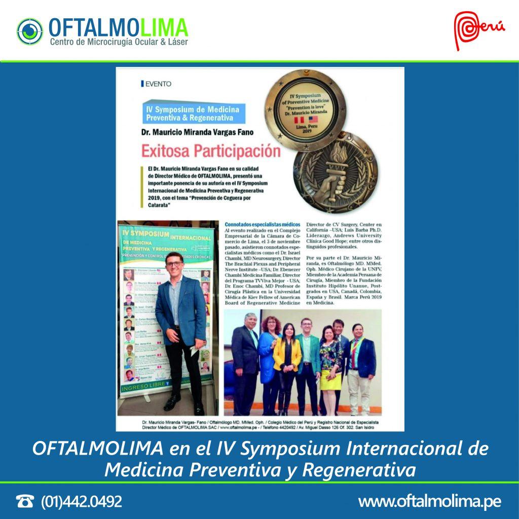 JUSTO MEDIO y OFTALMOLIMA en el IV Symposium Internacional de Medicina Preventiva y Regenerativa