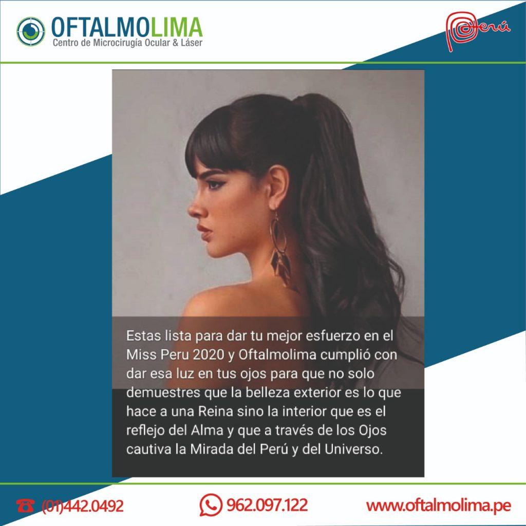 La Reina de Belleza Pierinna Patiño: los ojos más bellos de la mujer peruana, fueron atendidos con éxito por el Dr. Mauricio Miranda Vargas Fano